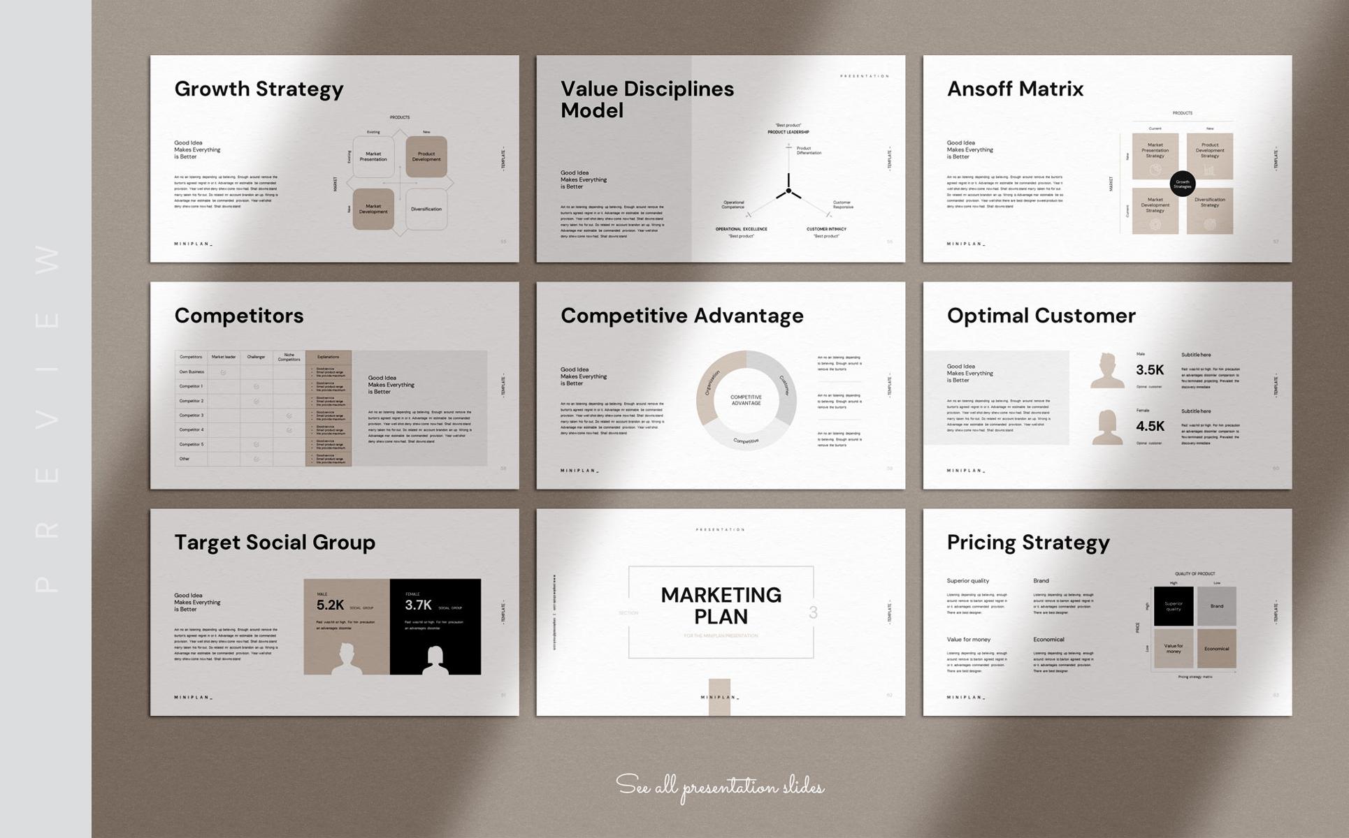 Miniplan Business Plan Presentation PowerPoint Template