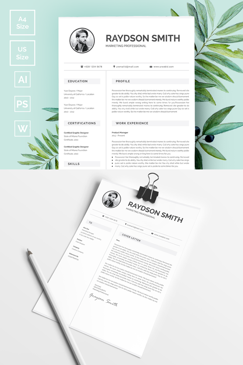 raydson smith clean simple resume template #73413