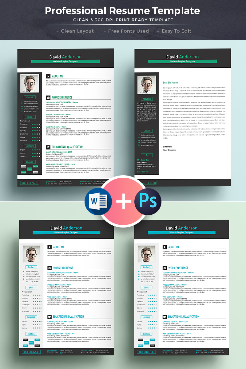 David Anderson   Ms Word Format Web U0026 Graphic Designer Resume Template Big  Screenshot