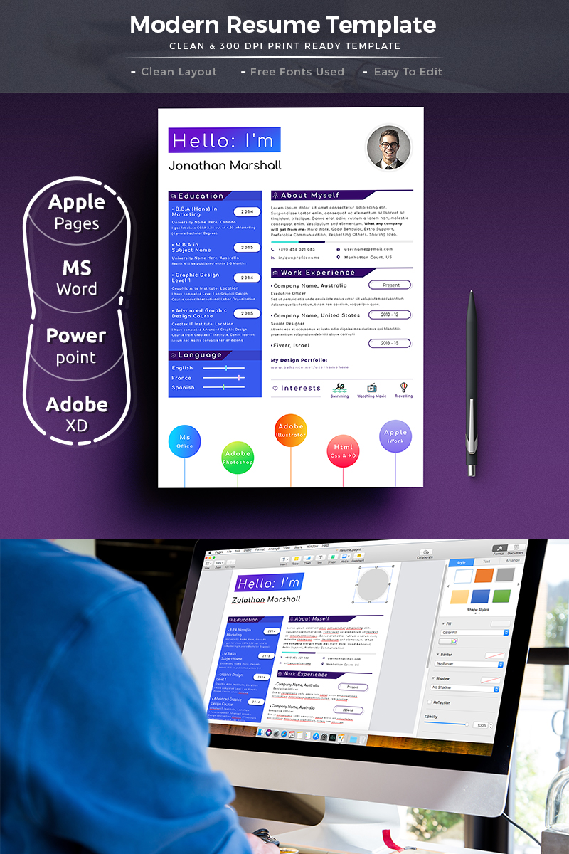 topper modern word pages resume template 74720