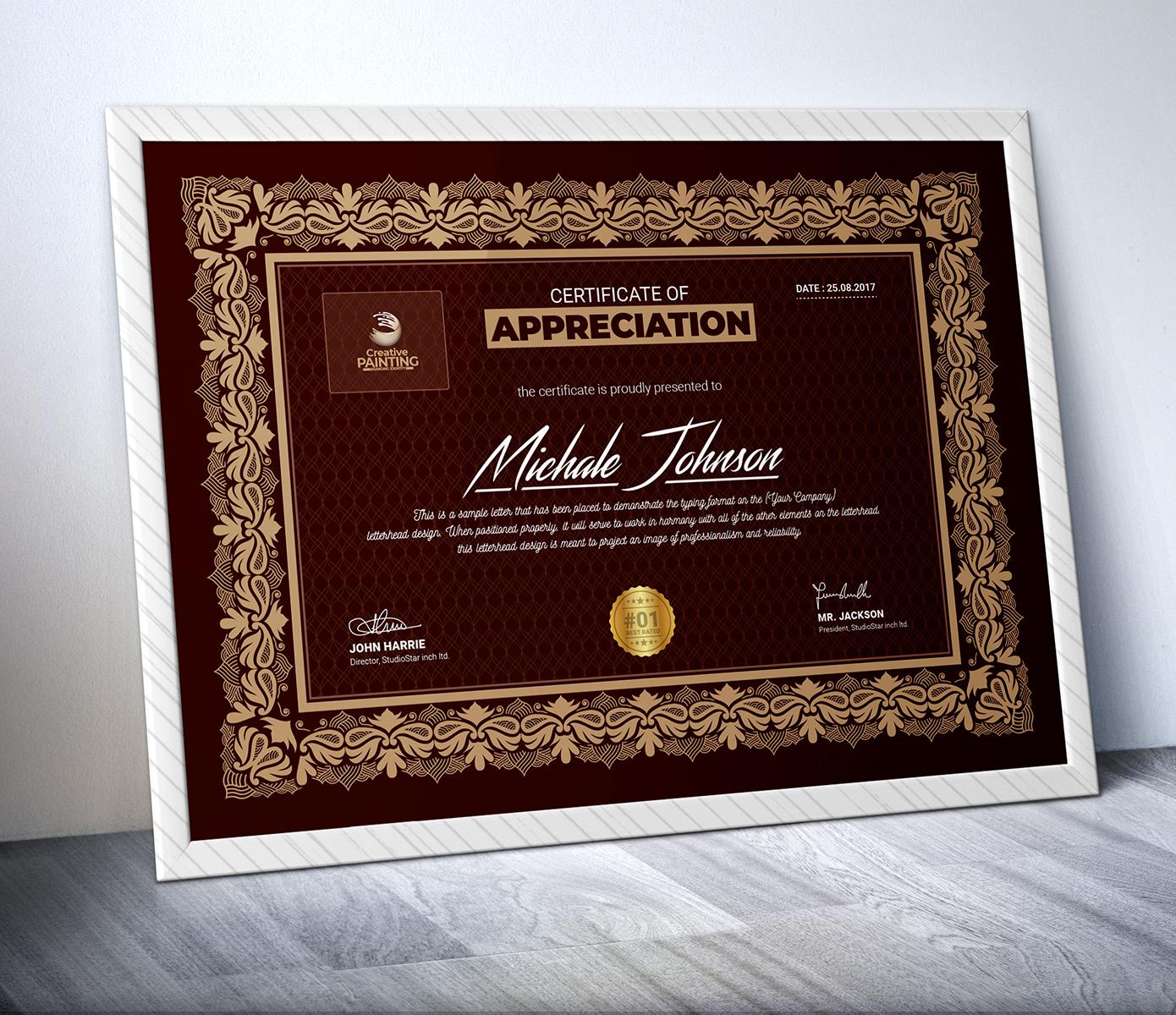 Michale Johnson Multipurpose Design Certificate Template 73708