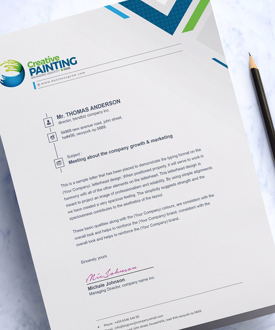 Clean Corporate Letterhead Template: Clean Word Letterhead Corporate Identity Template #74862