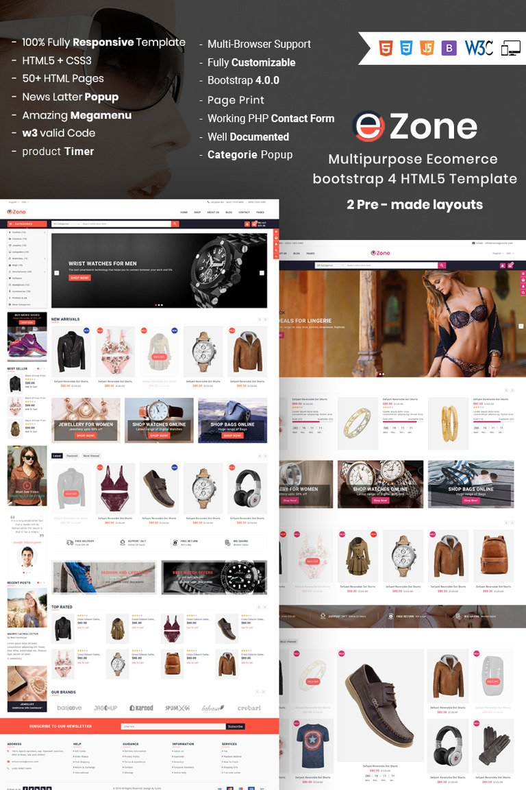 Ezone Responsive Multipurpose ECommerce Website Template - E news template