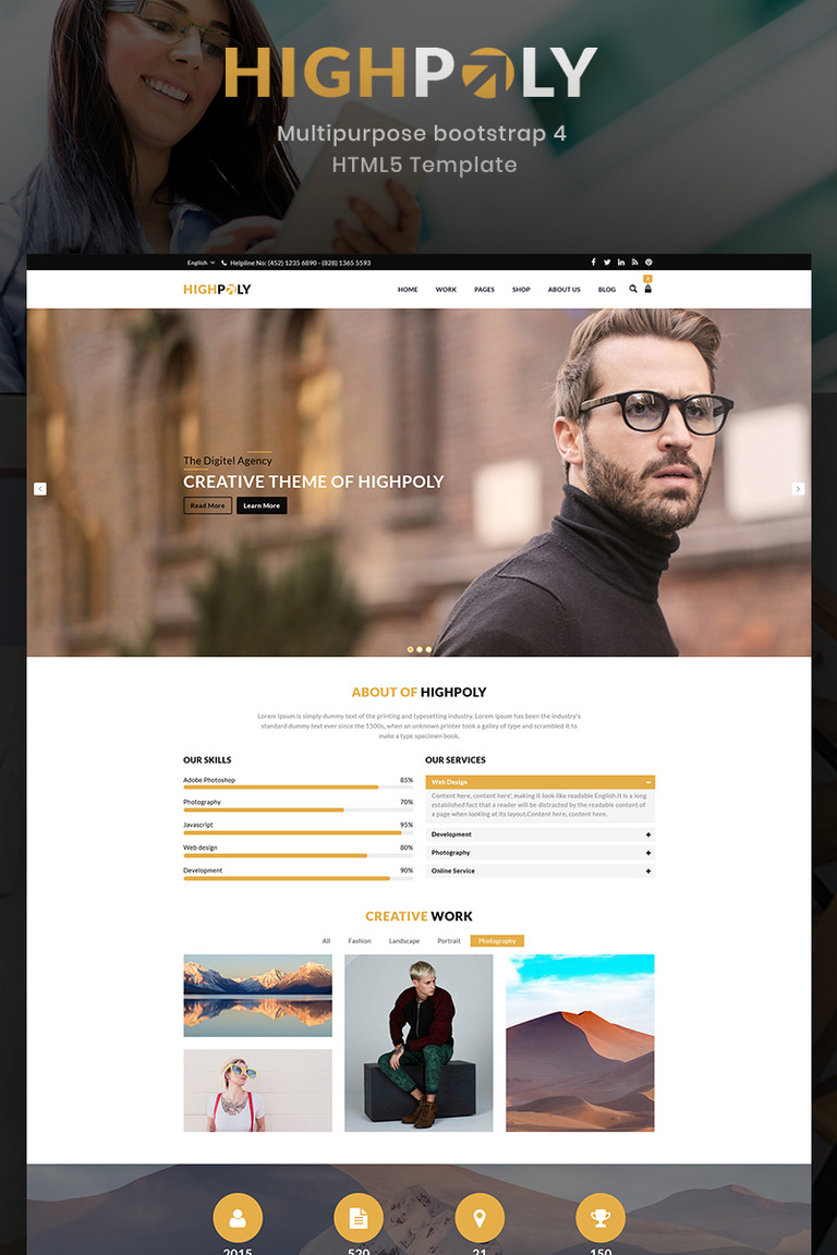 Highpoly - Responsive Multipurpose E-Commerce Website Template #73875