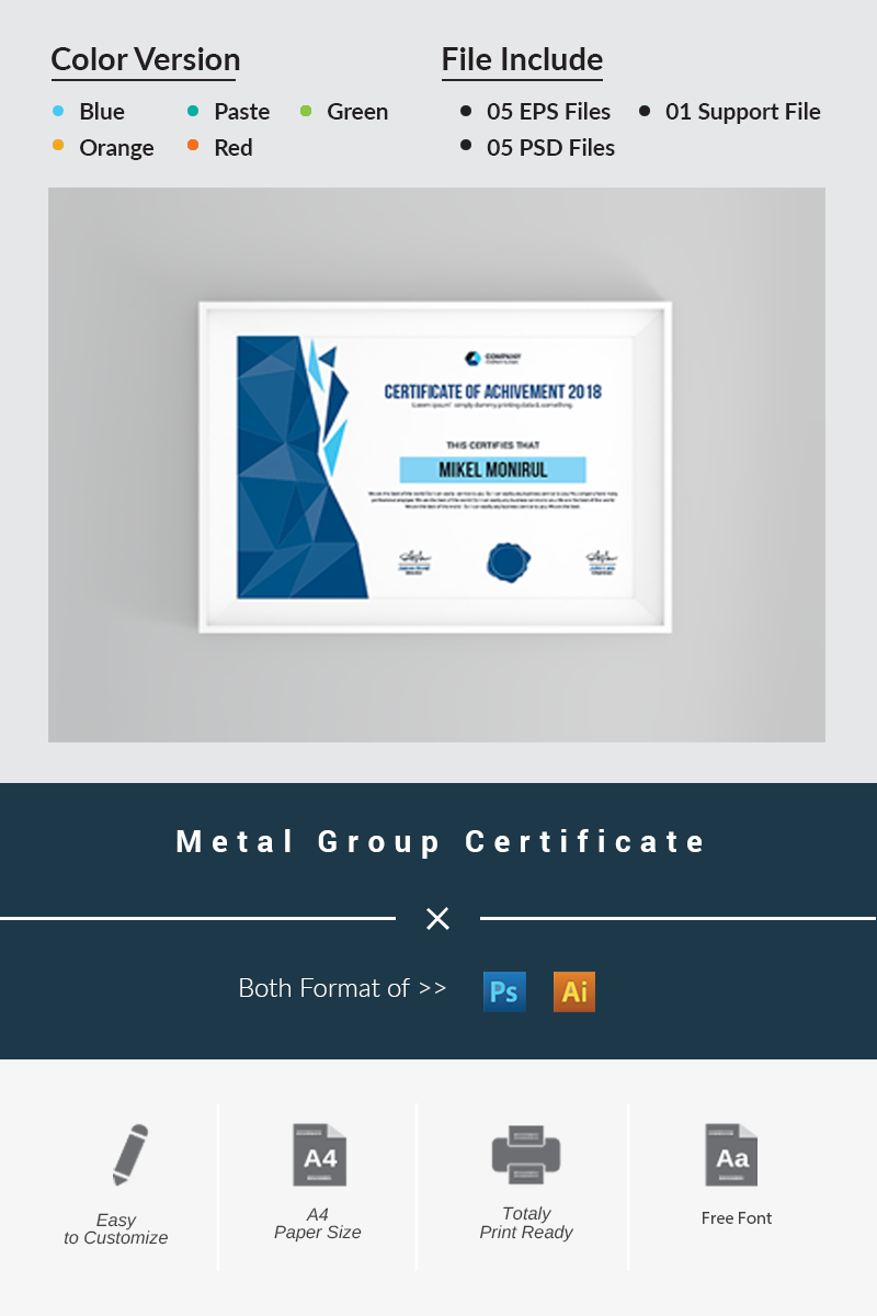 metal group certificate template 69591