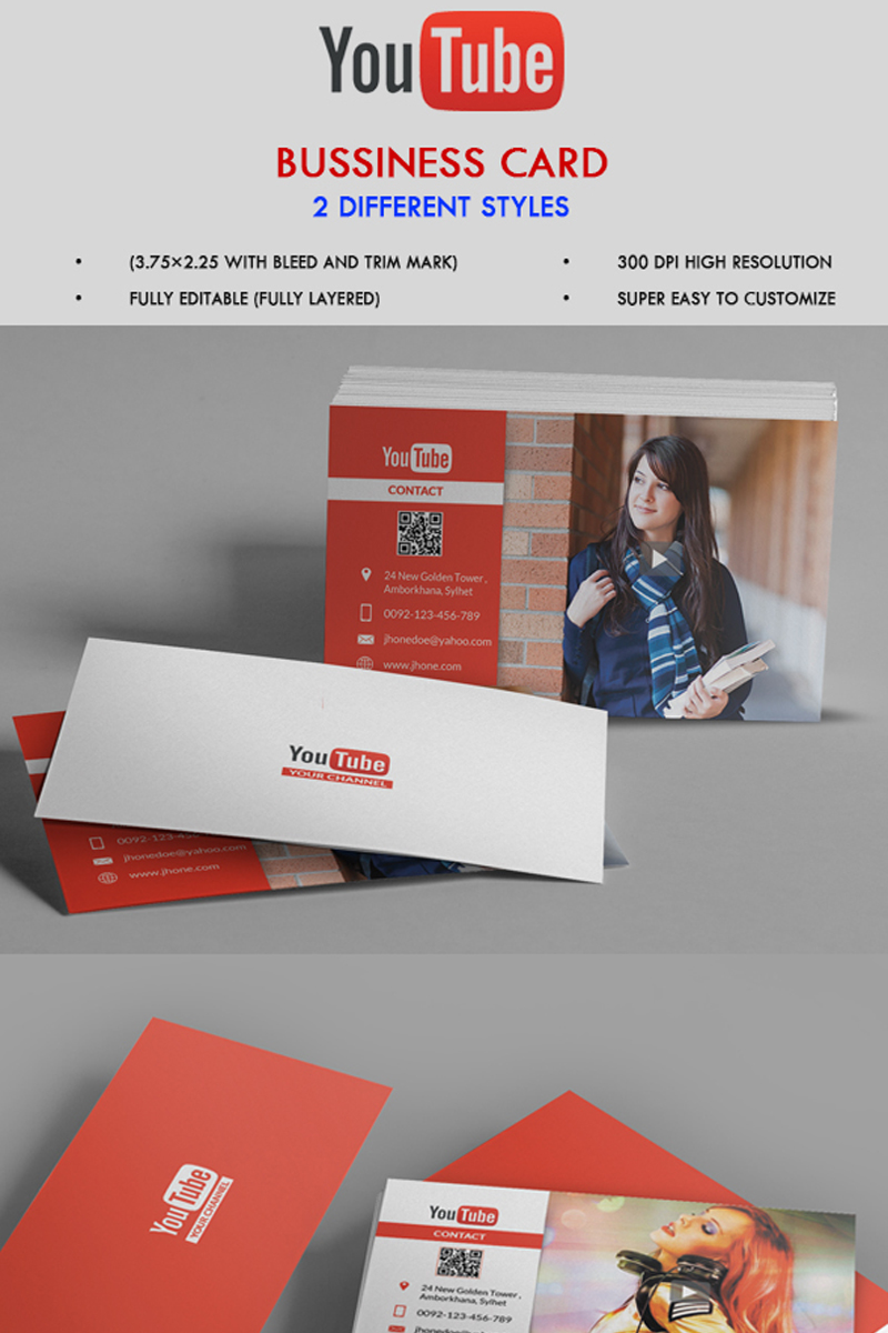 Youtube channel business card corporate identity template 68081 reheart Image collections