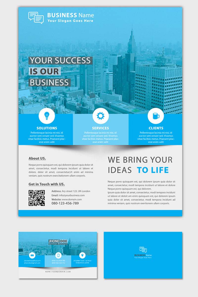 Business Flyer with Business Card Corporate Identity Template #68652