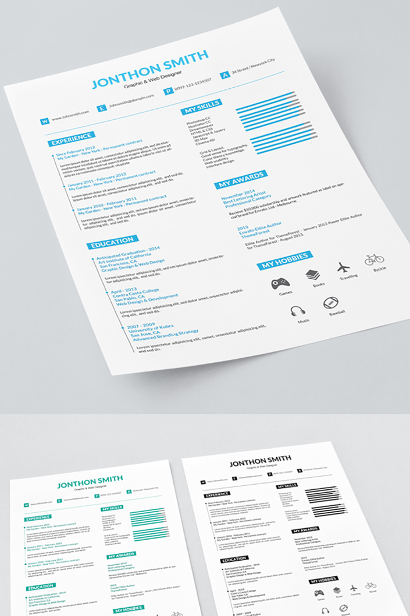 Graphic And Web Designer Resume Template 71565
