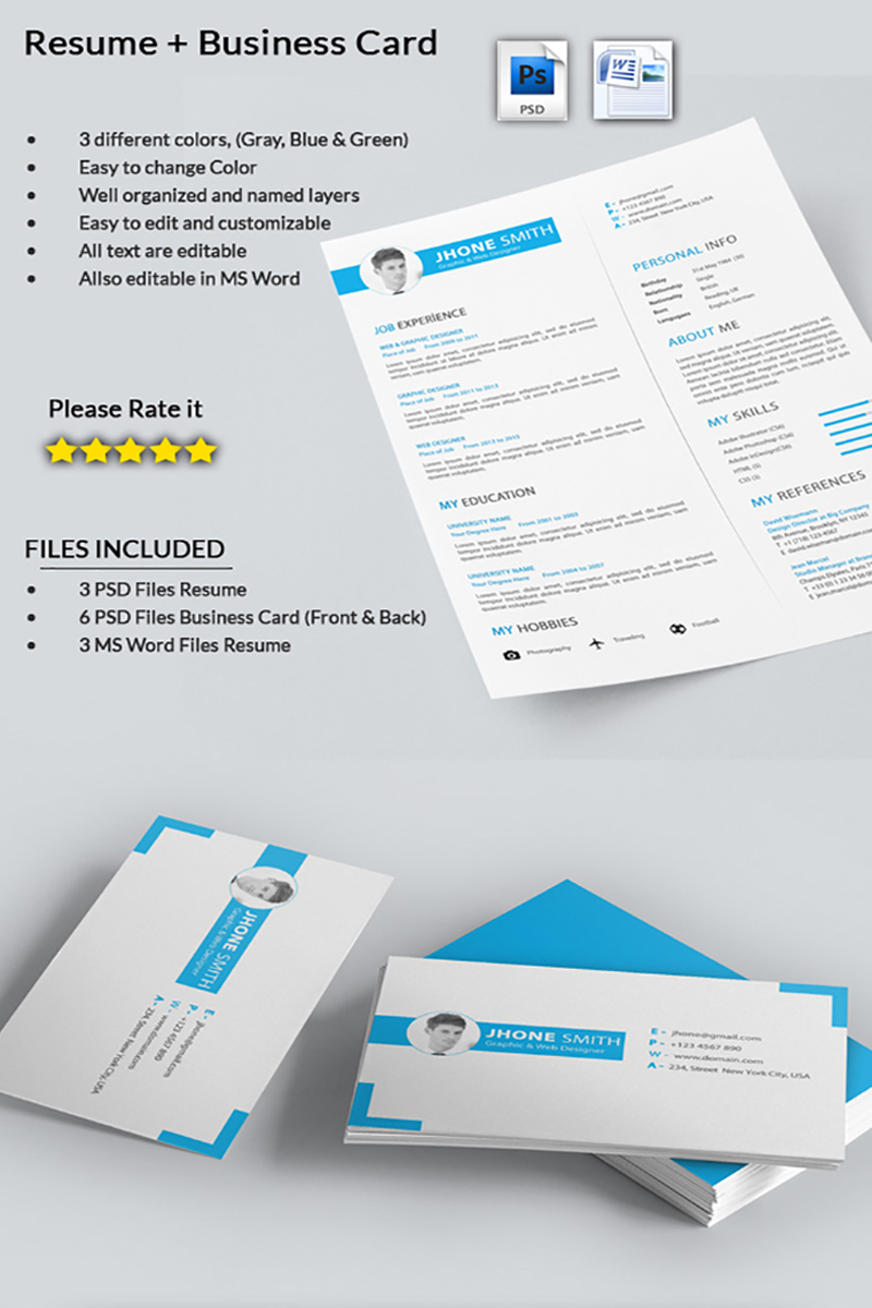 Graphic Designer- CV with Business Card Resume Template #71564