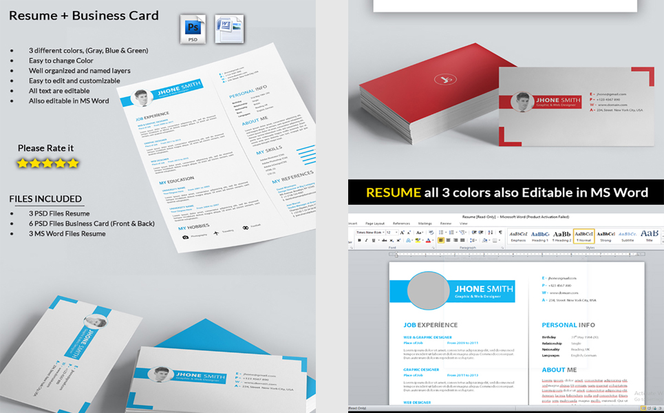 Graphic designer cv with business card resume template 71564 graphic designer cv with business card resume template big screenshot reheart Choice Image