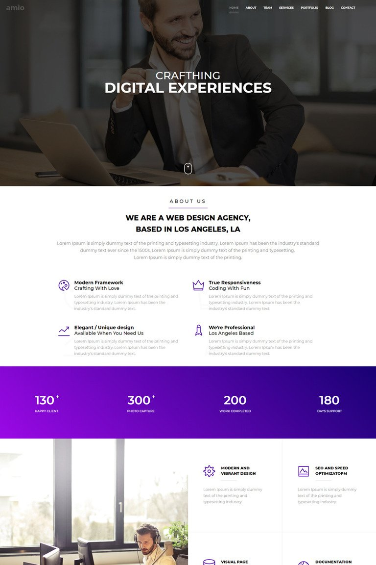 amio one page parallax website template 68592