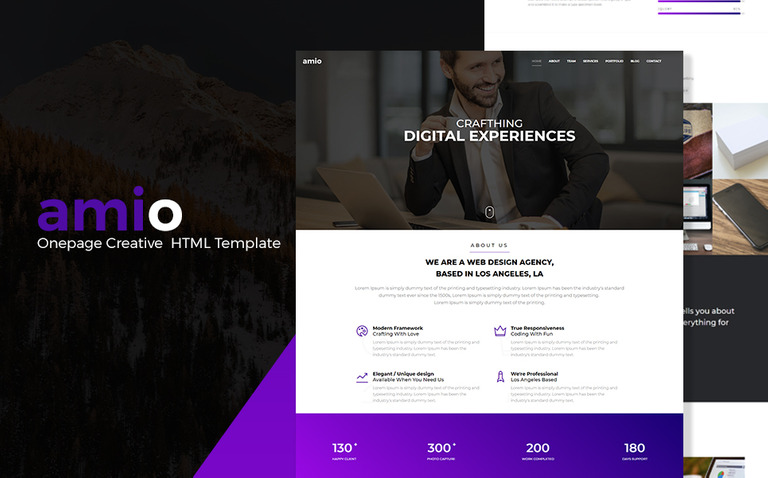 Amio one page parallax website template 68592 amio one page parallax website template big screenshot maxwellsz