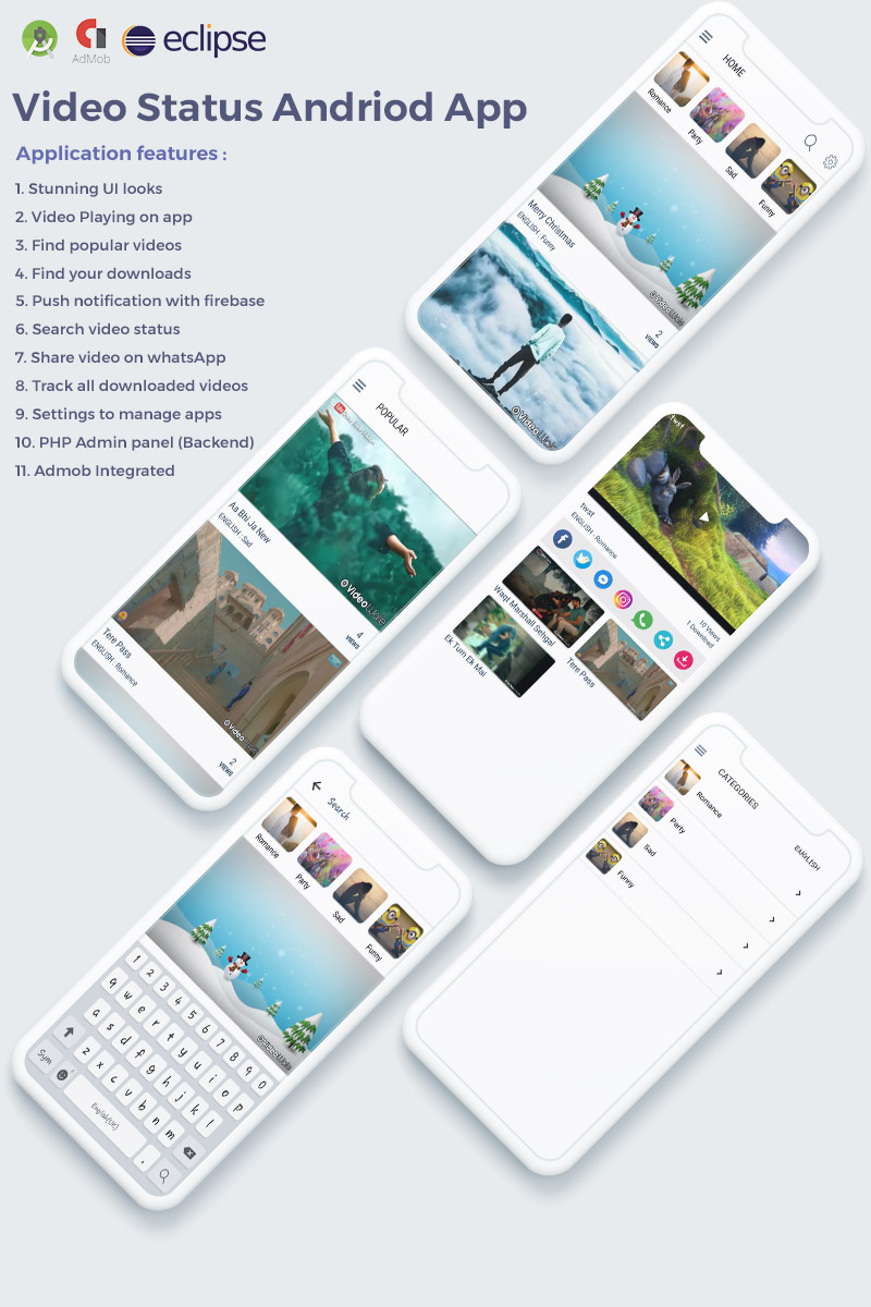 WhatsApp Video Status & Video Sharing with Admin Panel App Template #76859