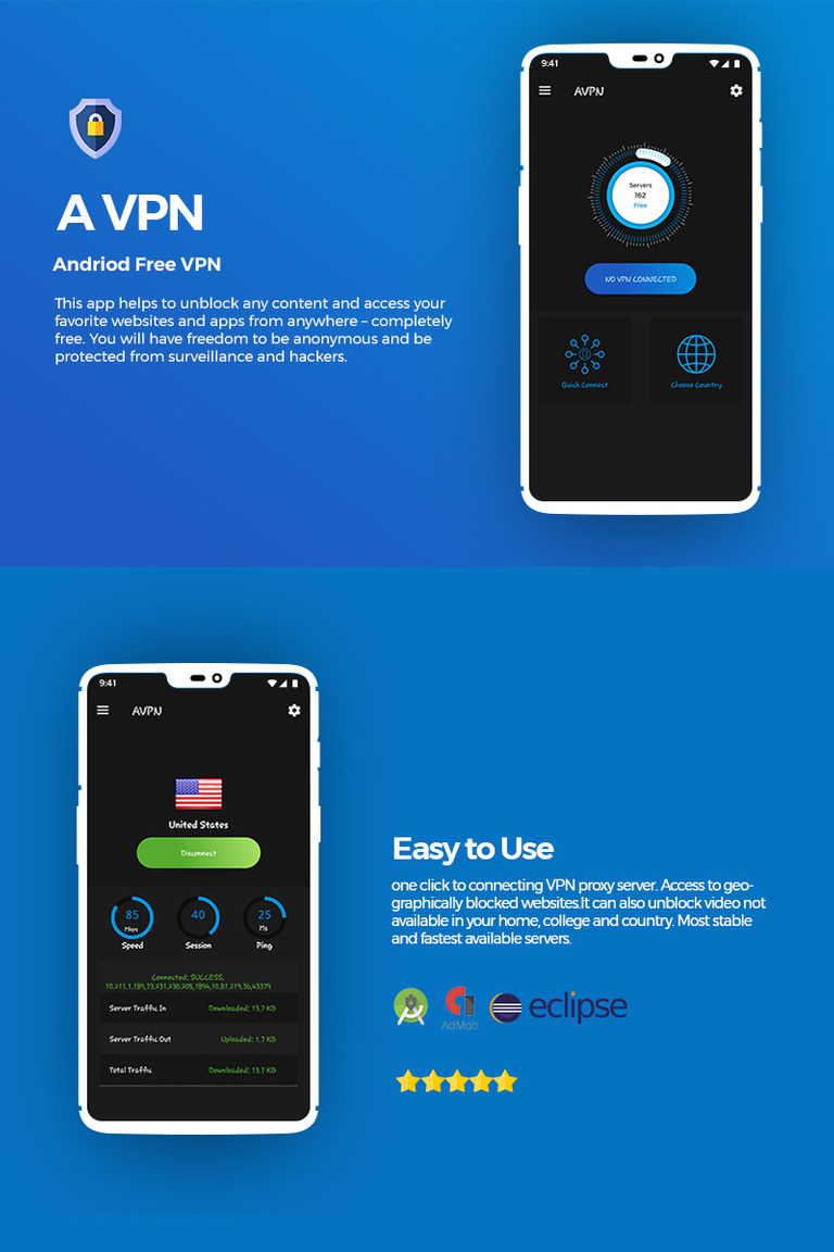 AVPN Android Unlimited Free VPN App Template #77293