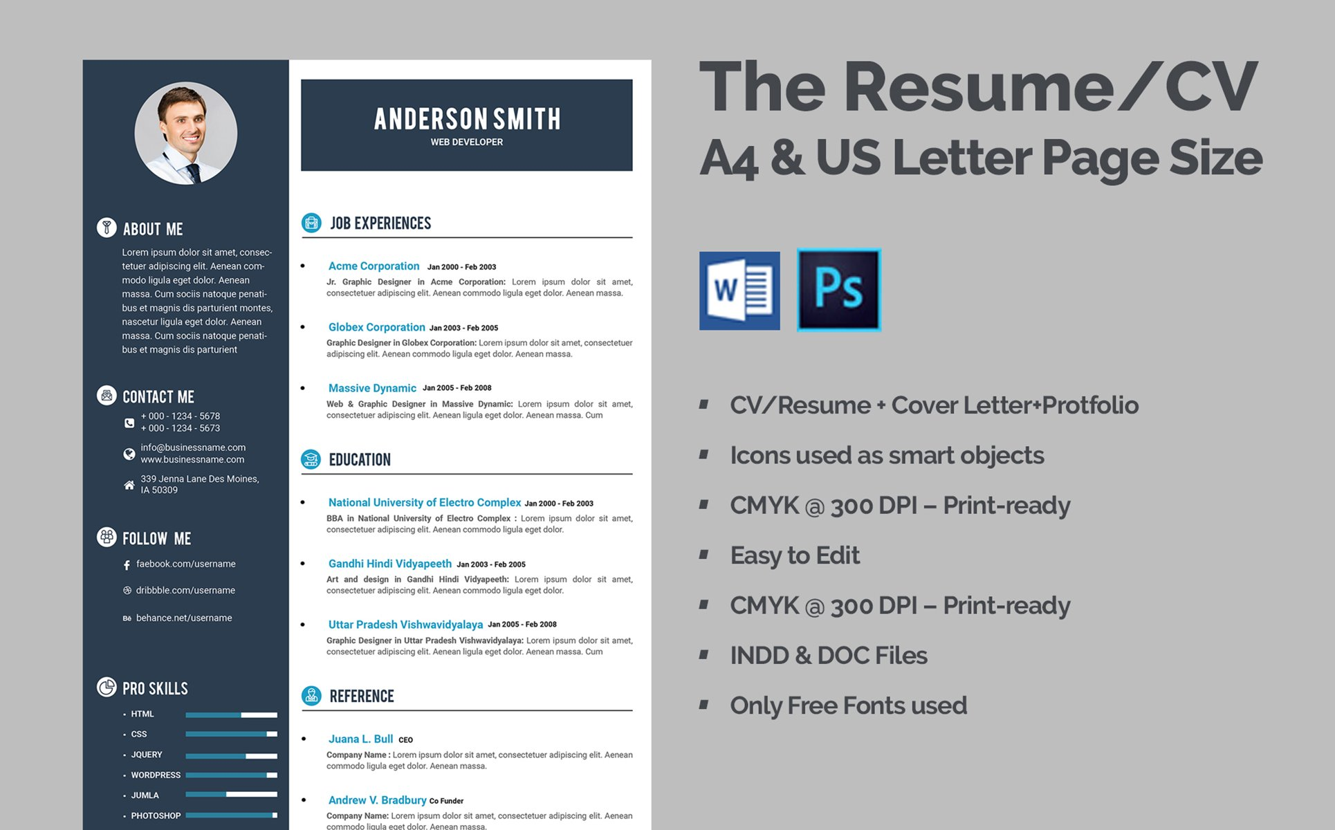 Web Developer CV Resume Template Big Screenshot