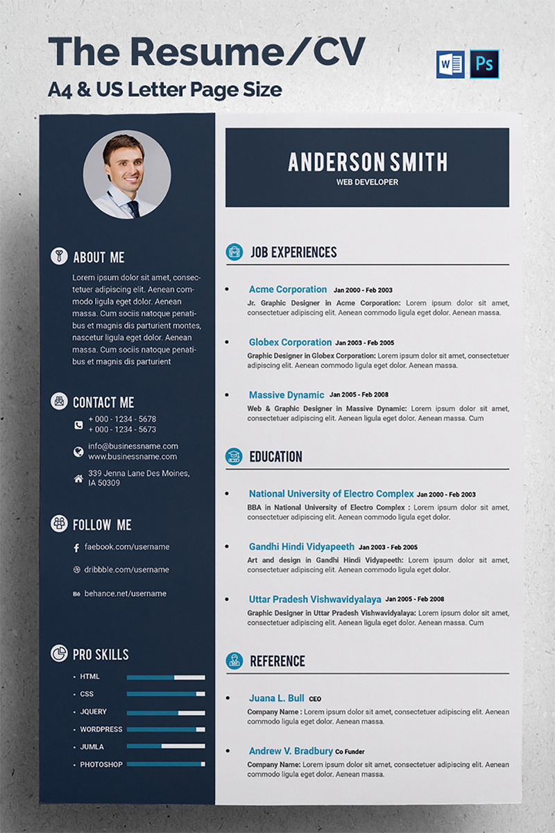 web developer cv resume template 68317 - Developer Resume Template