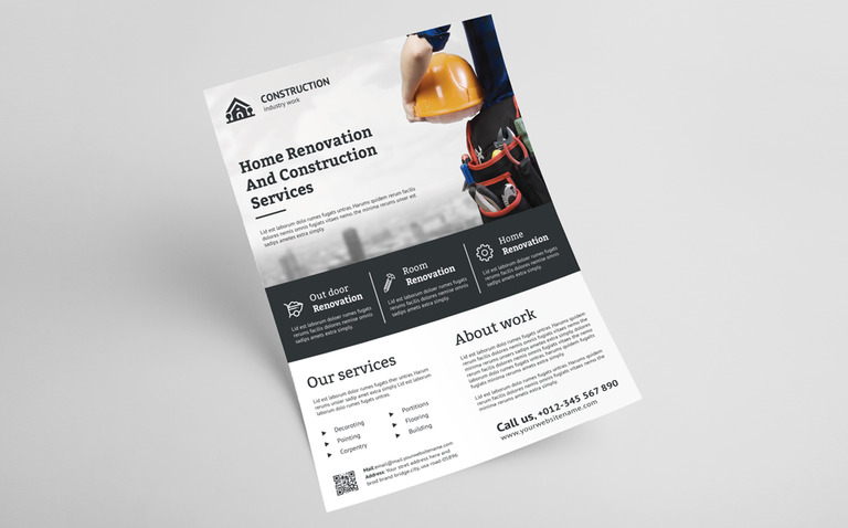 construction flyer corporate identity template 70815