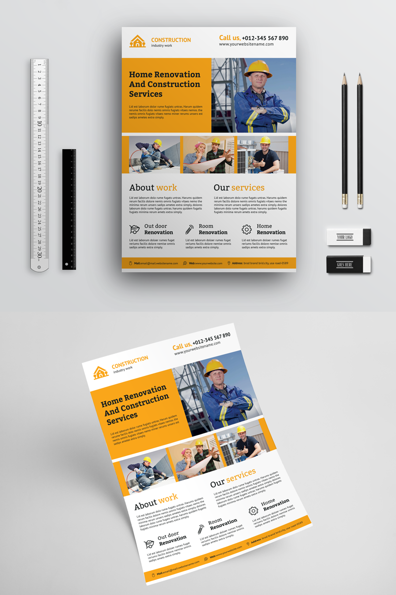 creative construction flyer corporate identity template 70812