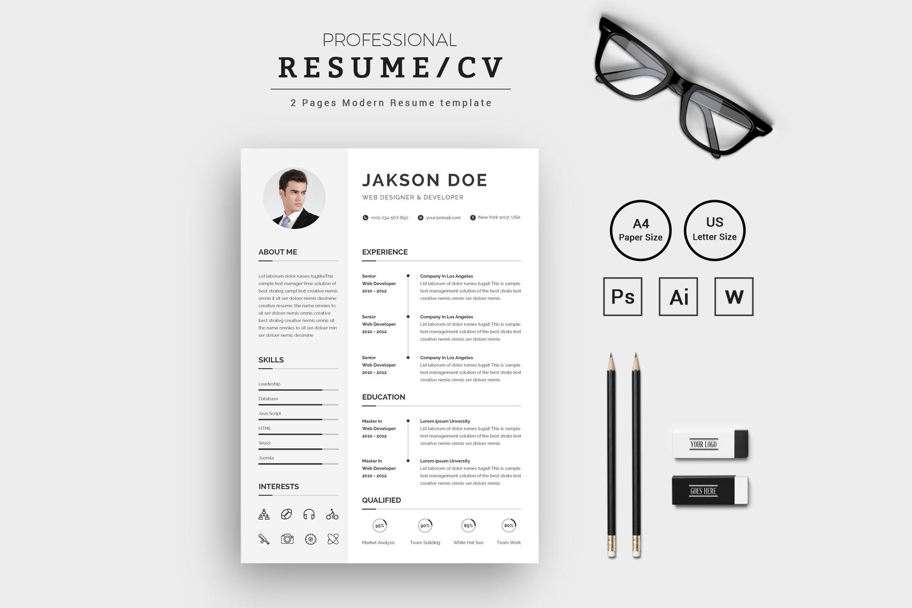 Jakson Doe Web Designer & Developer CV/ Resume Template #71811