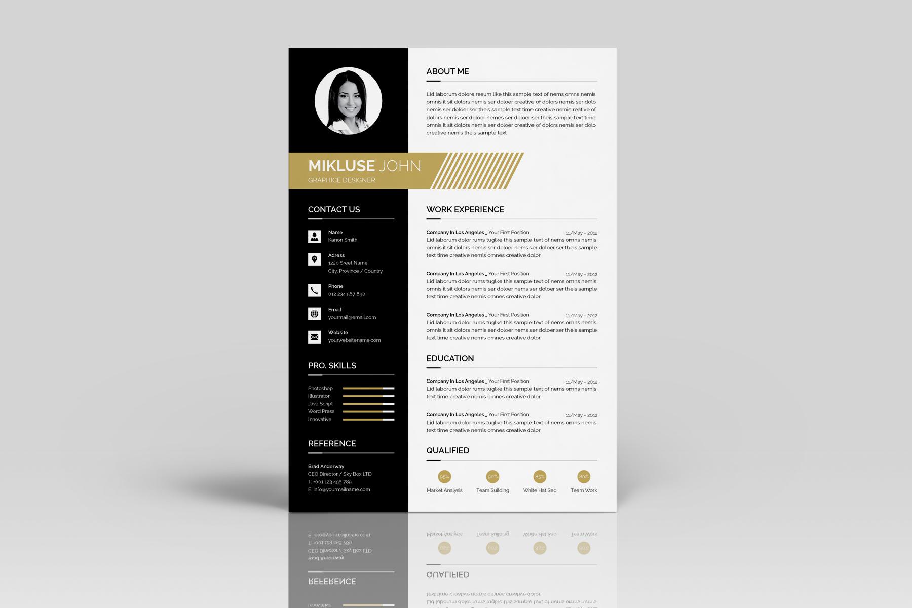 mikluse john graphice designer resume template  73475