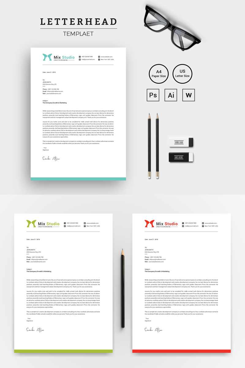 Word Letterhead Template | Clean Word Letterhead Corporate Identity Template 74348