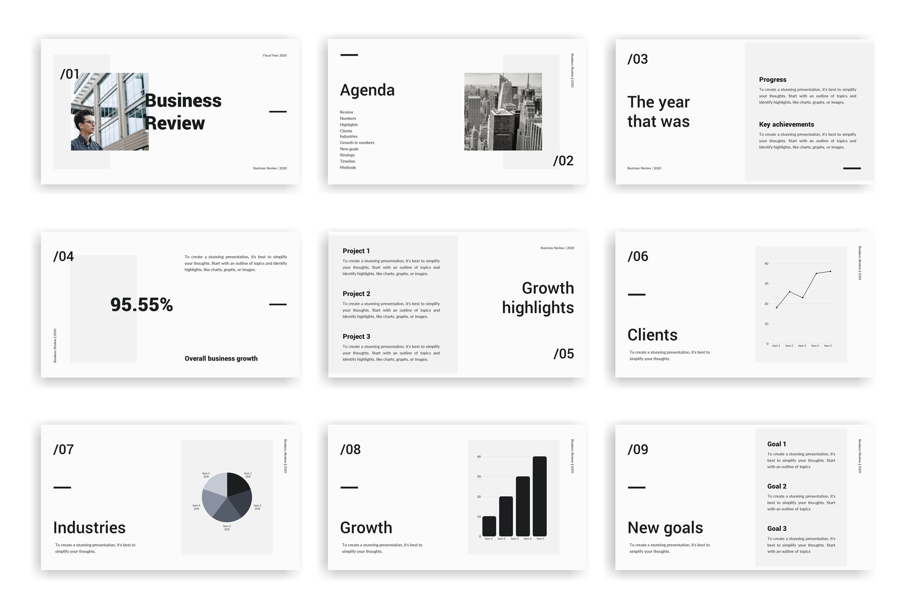 Business Review Presentation PowerPoint Template