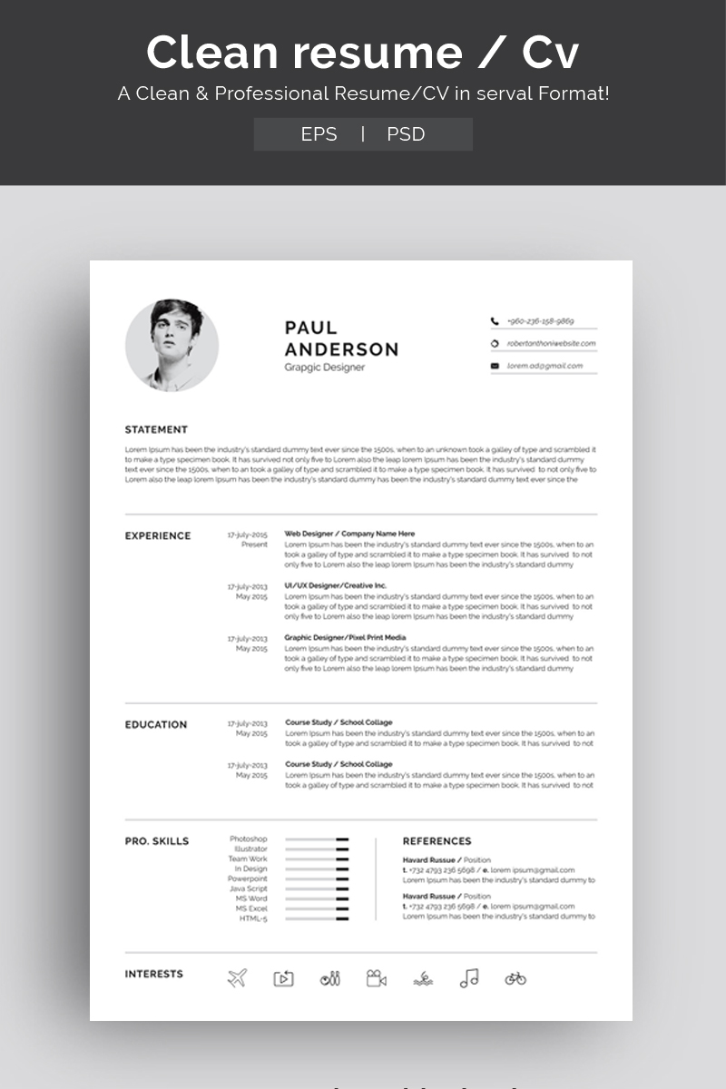 Sablona Pro Zivotopis Paul Anderson 71926