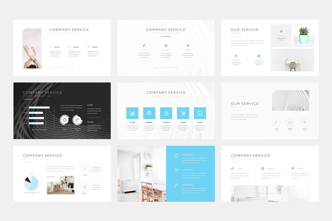 clean minimal presentation powerpoint template  77553