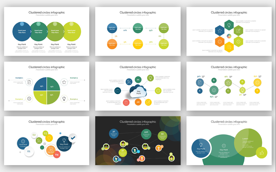 Clustered Info graphic PowerPoint Template