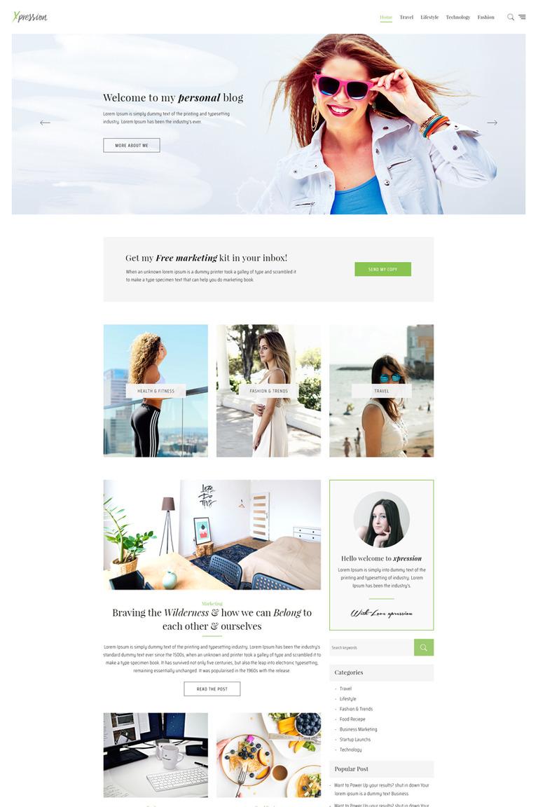 Tema de WordPress #68324 para Sitio de Bloges de moda