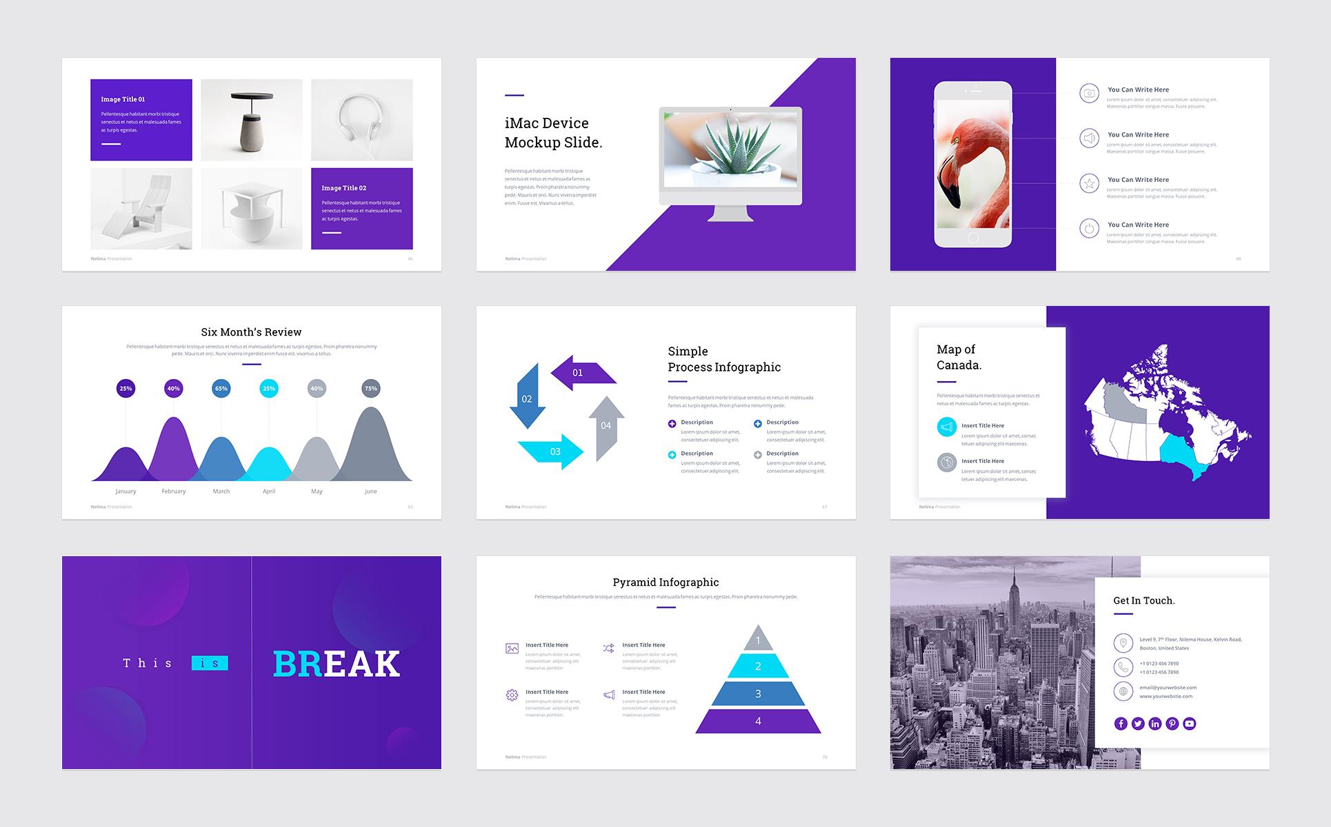 nelima modern minimal presentation powerpoint template 68747