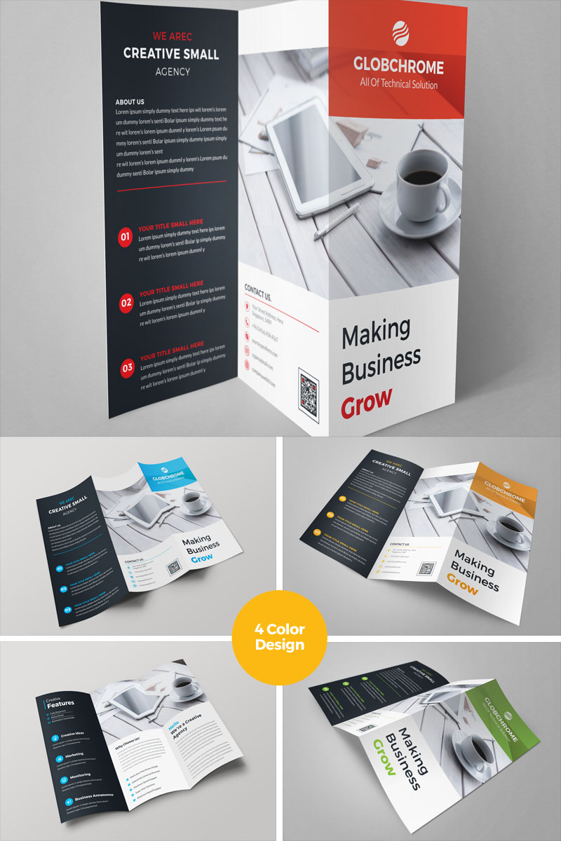 Square Tri Fold Brochure Template Corporate Identity Template 69504