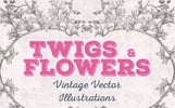 "Ilustrace ""Twigs & Flowers Vintage Vector [140 Items]"""