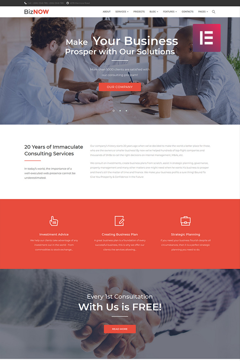 Biznow - Business Consulting Elementor WordPress Theme