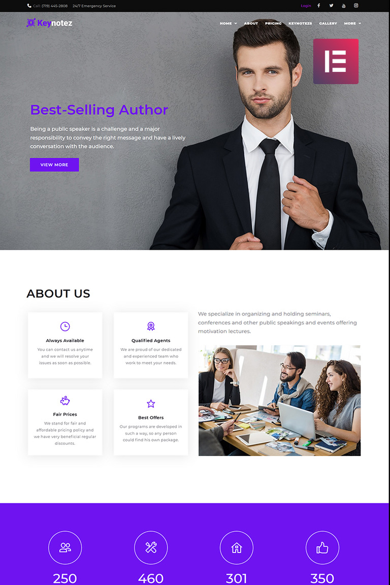 Keynotez - Business & Service Elementor WordPress Theme