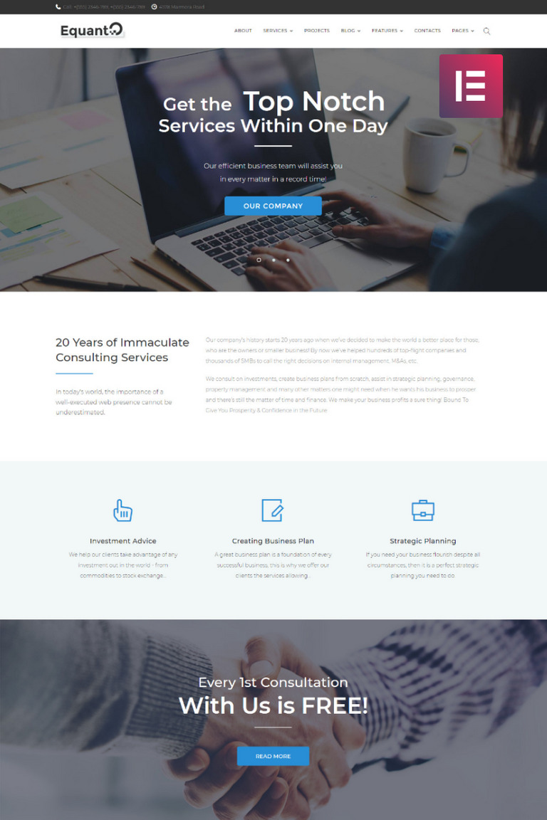 Equanto - Business Consulting Elementor WordPress Theme