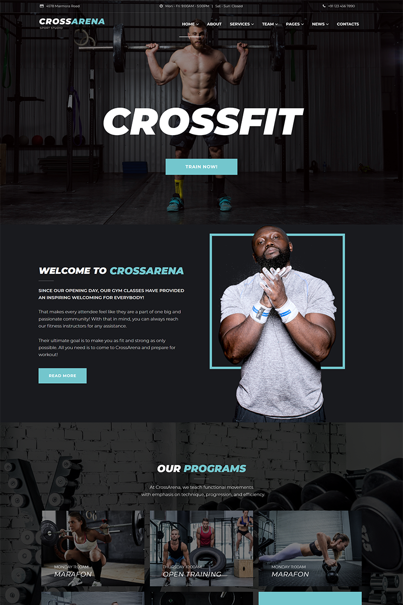 Cross Arena - Crossfit Studio Elementor WordPress Theme