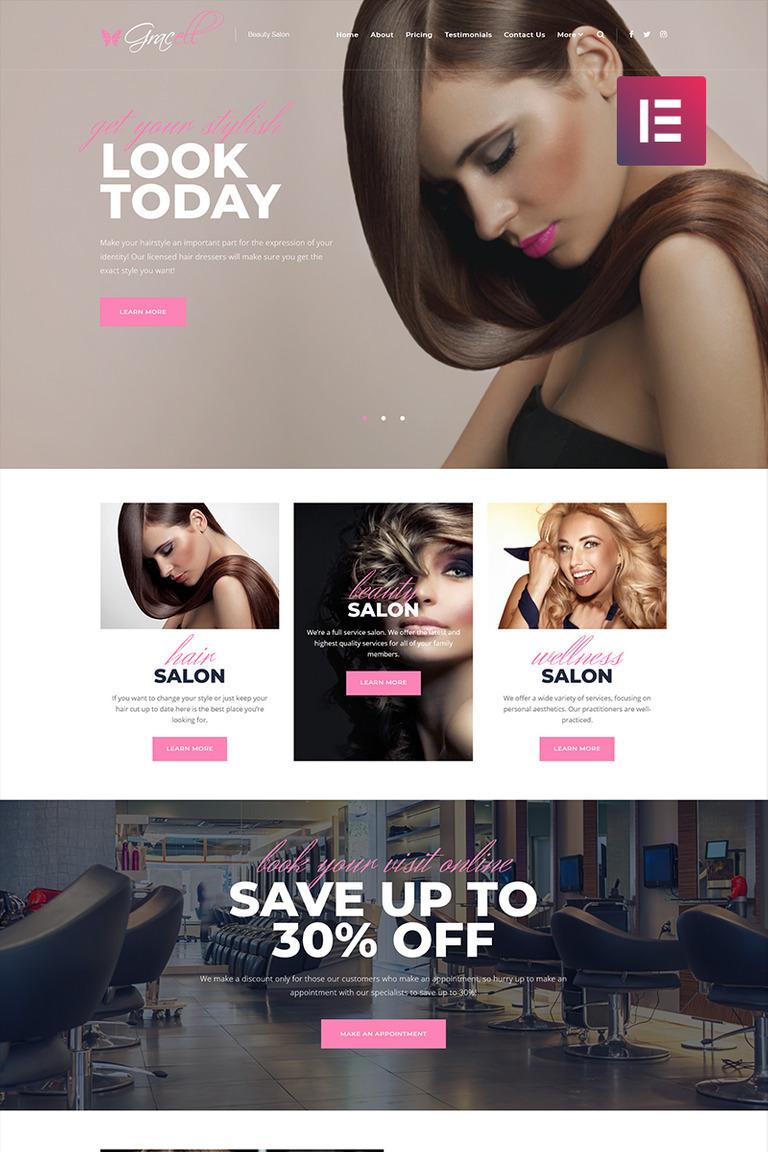 Gracell - Beauty Salon Elementor WordPress Theme #71864