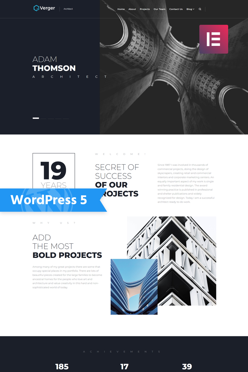 Verger - Architecture Company Multipurpose Creative Elementor WordPress  Theme #75770