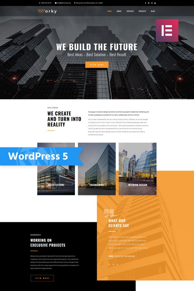 Worky - Architectural Bureau Multipurpose Modern Elementor WordPress Theme