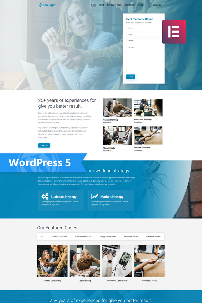 Challeger - Business Consulting Multipurpose Modern Elementor WordPress Theme