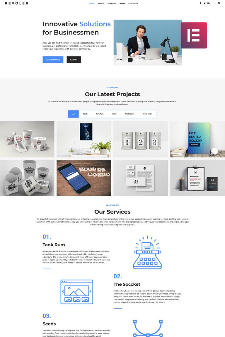 Revoler - Business Multipurpose Minimal Elementor WordPress Theme
