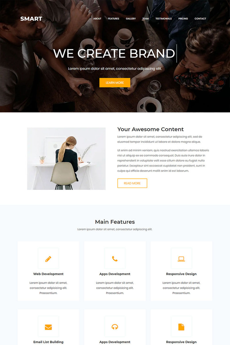 Smart - One Page Landing Page Template #68815