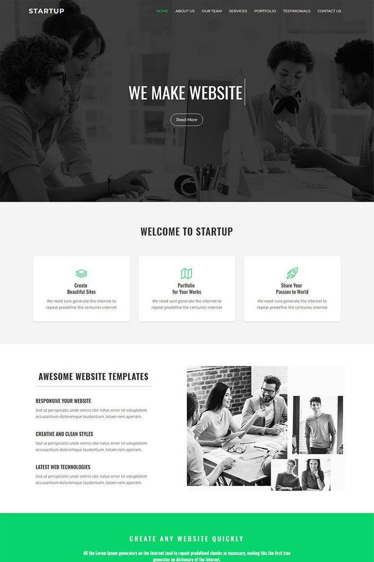 Startup - One Page Landing Page Template #68869