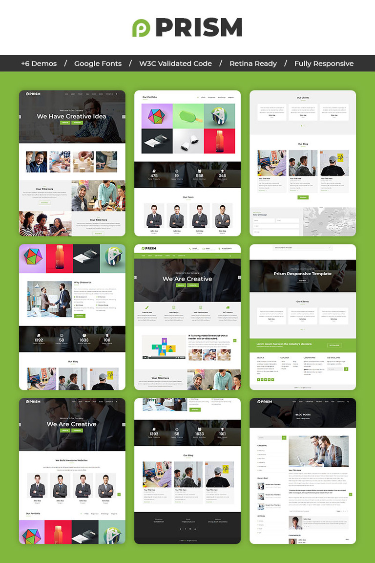 Prism One Page Parallax Landing Page Template 70070