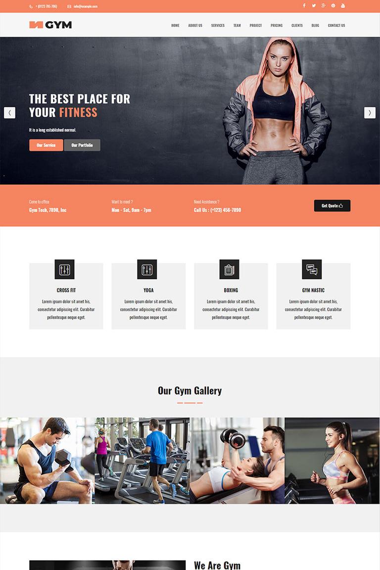Gym Parallax Landing Page Template Screenshot