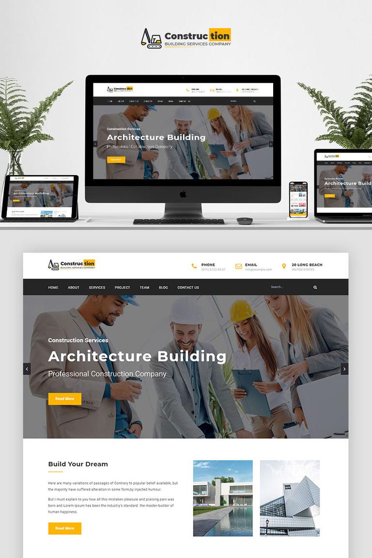 Construction Parallax Landing Page Template New Screenshots