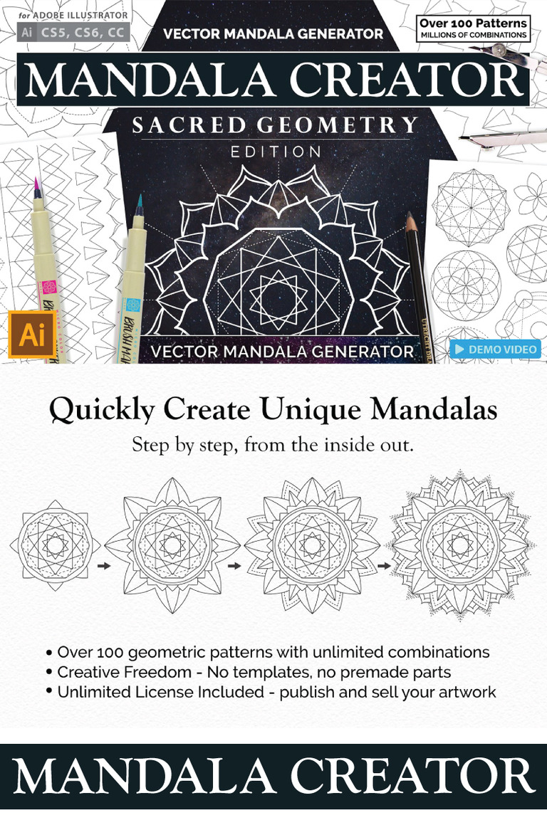 Sacred Geometry Mandala Creator Bundle #68293