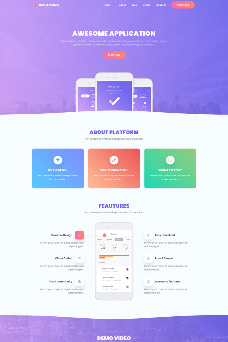 7 Solutions Creative Mobile App Landing Page Template 69535