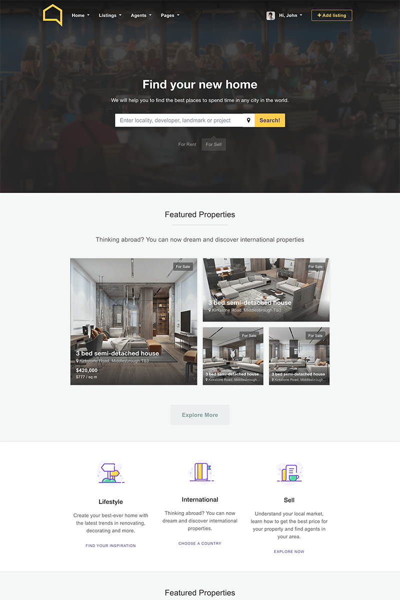 Listo Bootstrap Real Estate Website Template #68445